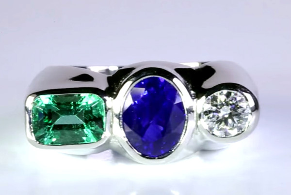Trilogy Ring (Emerald with Blue Sapphire and Diamond)