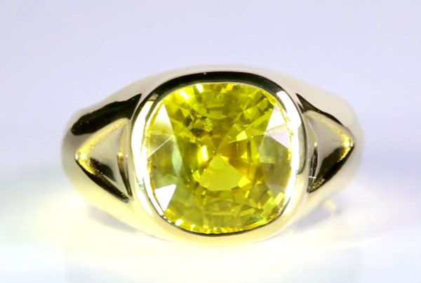 Yellow Sapphire Set In Gold