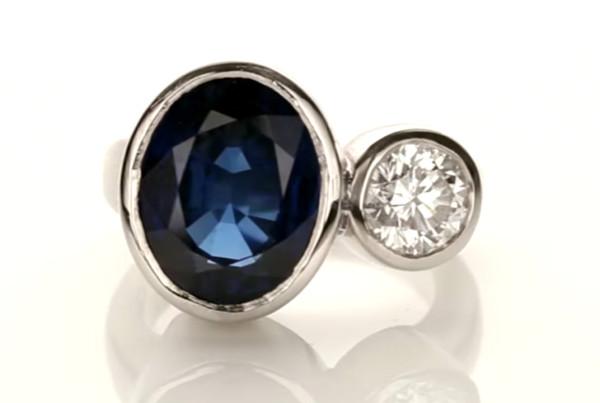Blue Sapphire and Diamond Gemstone Ring Set in Platinum