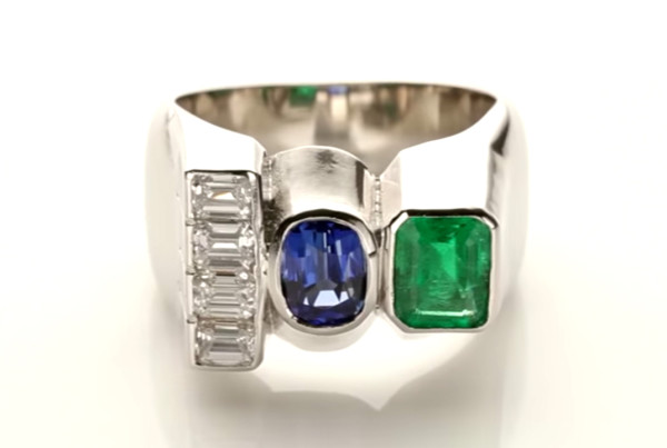 Trilogy Ring Diamond, Emerald, Blue Sapphire in Platinum