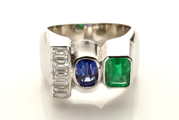 Trilogy Ring Four Diamonds, Emerald, Blue Sapphire in Platinum
