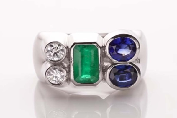 Trilogy Ring With Emerald - Two Blue Sapphires and Two Diamonds