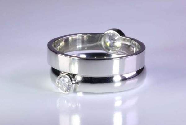 Diamond Rings Set in Platinum for Men - Flat Band and Ladies - Court Band