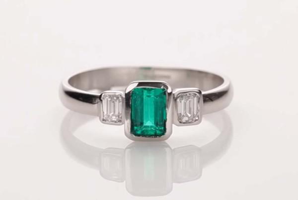 Emerald and Diamond Ring Set in Platinum