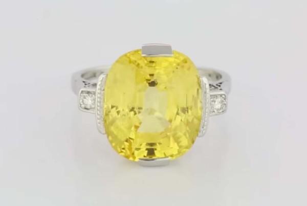 Yellow Sapphire Ring Set in Platinum