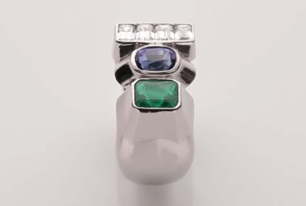 Trilogy Ring Blue Sapphire - Emerald and Diamond