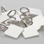 5 Silver Square Pendants