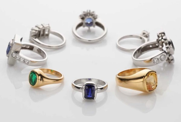 Collection Of Precious Gemstones Jewels and Rings