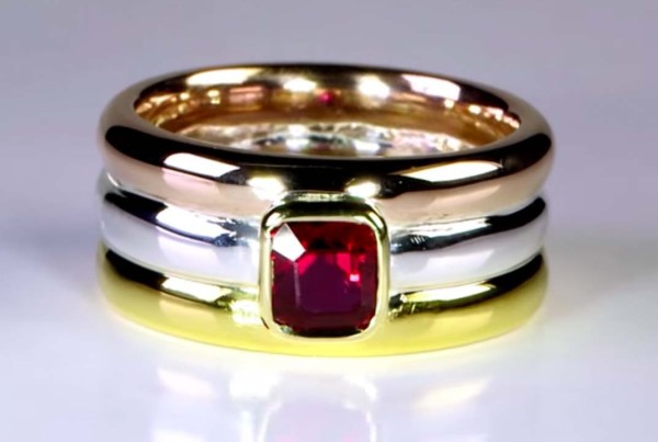 Trilogy Ring With Gold - Red Gold and Silver