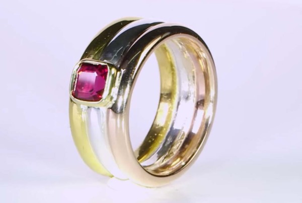 Trilogy Ruby Ring in Gold - Red Gold With Silver v2