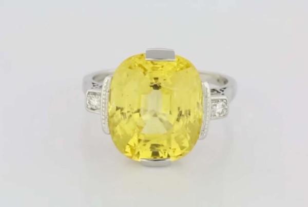 Yellow Sapphire Set In Platinum Ring