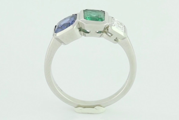 01 Blue Sapphire, Emerald And Diamond Set In Platinum, Trilogy Ring Power Ring