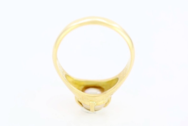 1 Real Salt Water Pearl Set In Gold Ring