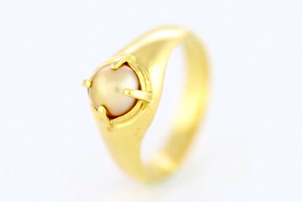 1Real Salt Water Pearl Set In Gold Ring