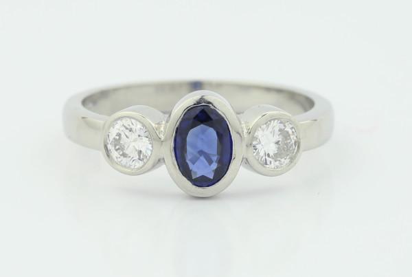 Blue Rounded Gem Ring