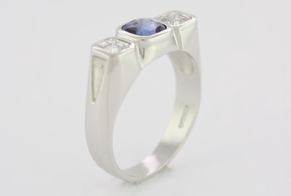 Blue Sapphire And Diamonds In Platinum Ring With Blue Sapphire Em Cut With Two Em Cut Diamonds