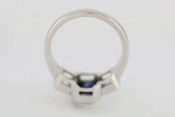 Blue Scapphire And Diamonds In Platinum Ring, Blue Sapphire Em Cut With Two Em Cut Diamonds