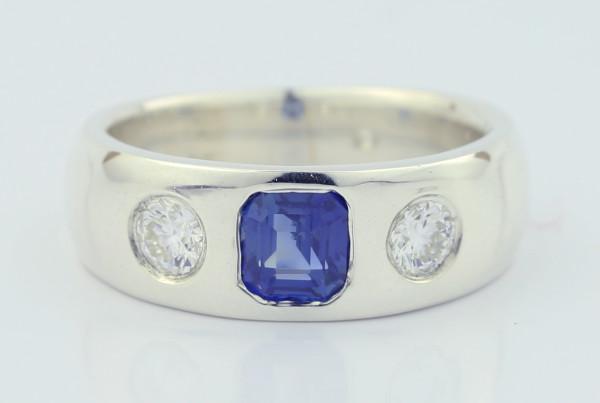 Blue Squared Gem Ring