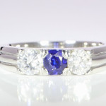 Blue sapphire And Diamond Set In Platinum 15 Year Old Creation