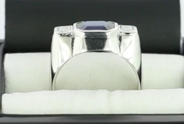 Blue sapphire Em Cut And Em Cut Diamonds In Platinum Ring, A Fine Blue Sapphire Em Cut With Two Em Cut Diamonds
