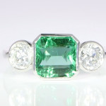 Emerald And Diamond Set In Platinum