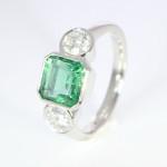 Emerald And Diamond Set In Platinum