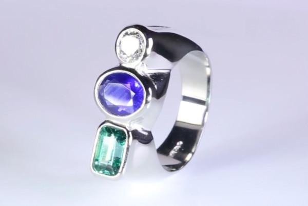 Fine Emerald, Fine Blue Sapphire And Fine Diamond Set In Platinum Ring