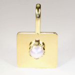Real Salt Water Pearl Set In Gold Square Pendant