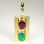 Ruby And Emerald Set In Gold Pendant