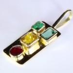 Ruby, Emerald & Yellow Sapphire Pendant