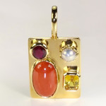 Ruby, Golden Yellow Sapphire, Real Salt Water Pearl And Real Salt Water Red Sea Coral All Set In Gold Square Pendant