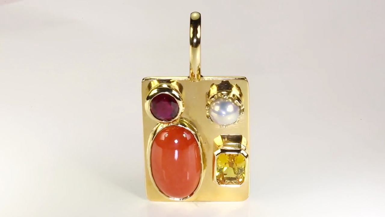 Ruby, Golden Yellow Sapphire, Real Salt Water Pearl And Real Salt Water Red  Sea