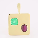 Ruby Oval Shape And Emerald Em Cut Set In Gold Square Pendant