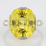 Yellow Sapphire And Diamonds Set In Platinum Ring