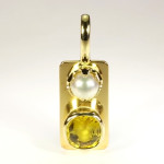 Yellow Sapphire Cushion Cut And Real Salt Water Pearl Set In Gold Pendant