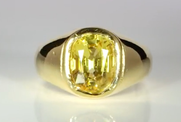 Yellow Sapphire Cushion Shape Set In Gold Ring