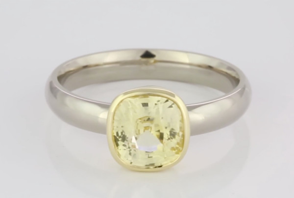 Yellow Sapphire Cushion Shape Set In White And Yellow Gold Ring