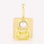 Yellow Sapphire Em Cut And A Real Salt Water Pearls Set In Gold Pendant