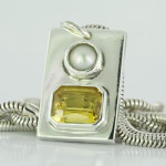 Yellow Sapphire Em Cut And A Real Salt Water Pearls Set In Silver Pendant With Silver Chain