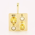 Yellow Sapphire Em Cut And Oval Shape And Two Real Salt Water Pearls Set In Gold Pendant