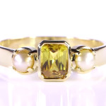 Yellow Sapphire Em Cut And Real Salt Water Pearl Set In Gold Ring