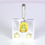 Yellow Sapphire Em Cut And Two Real Salt Water Pearls Set In Silver Pendant