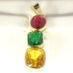 Yellow Sapphire, Emerald And Ruby Set In Gold Pendant A Unique Pendant