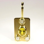 Yellow Sapphire Oval Cut And Real Salt Water Pearls Set In Gold Pendant