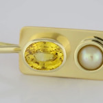 Yellow Sapphire Oval Shape And A Real Salt Water Pearl Set In Gold Pendant