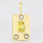 Yellow Sapphire Oval Shape And Three Real Salt Water Pearls Set In Gold Pendant