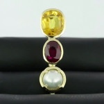 Yellow Sapphire, Real Salt Water Pearl And Ruby Set In Gold Pendant