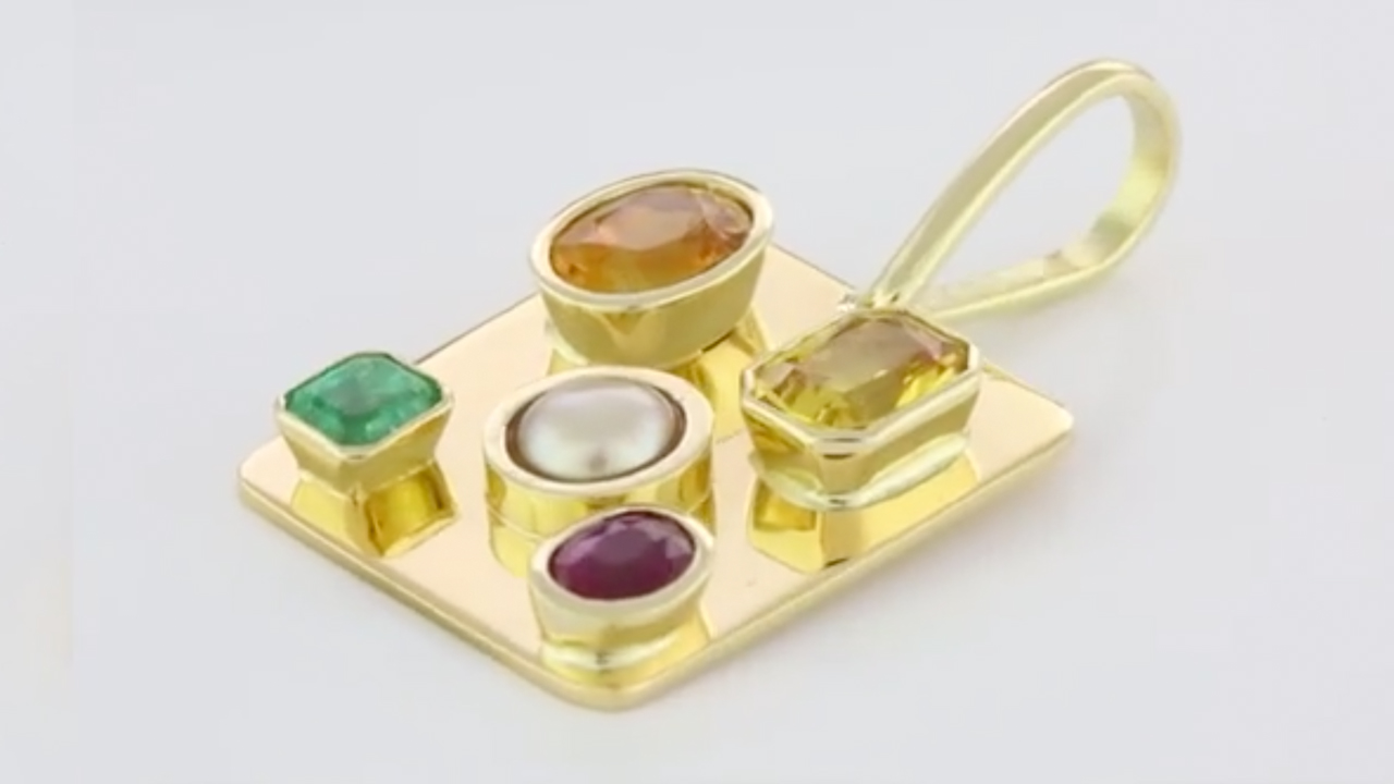 Yellow Sapphire, Real Salt Water Pearl, Emerald And Ruby Set In Gold  Pendant A