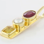 Yellow sapphire, Real Salt Water Pearl And Ruby Set In Gold Pendant A Unique Pendant