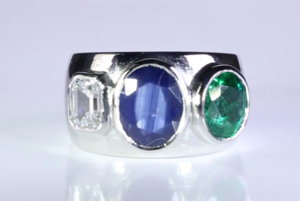 Blue Sapphire, Emerald And Diamond Set In Platinum, Trilogy Ring Power Ring